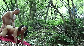 Youthful teen slammed in the woods by her old trainer