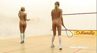 Young lesbians tennis players, playing with racket and cunt